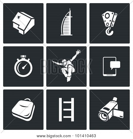 Roofer Icons Set. Vector Illustration.