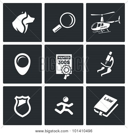 Search, Prosecution Escaped Convict Icons Set. Vector Illustration.