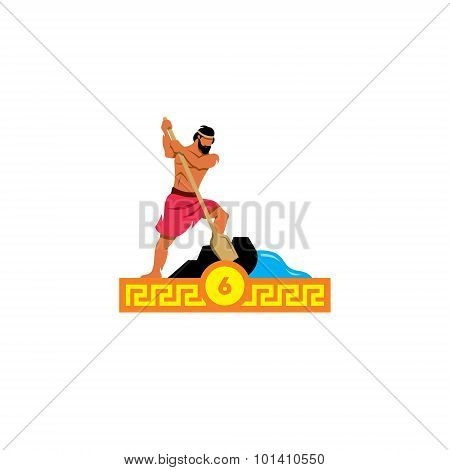 The Sixth Feat Of Heracles. Stable Augeas. Vector Illustration.