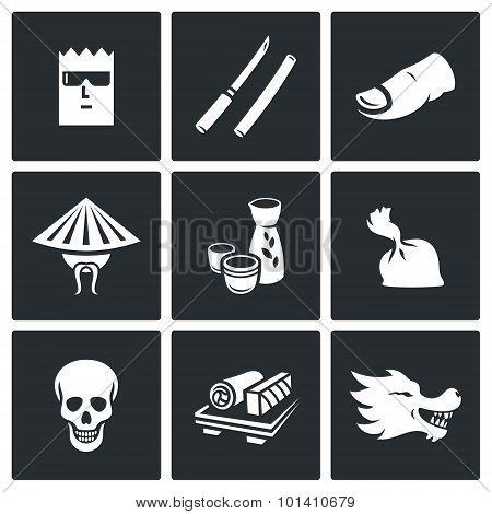Yakuza, Japans Organized Crime Icons Set. Vector Illustration.