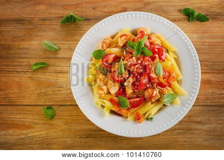 Penne With Meat, Sauce And Vegetables.