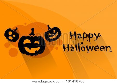 Pumpkin Halloween Scary Face Character Orange Flat Logo Web Banner