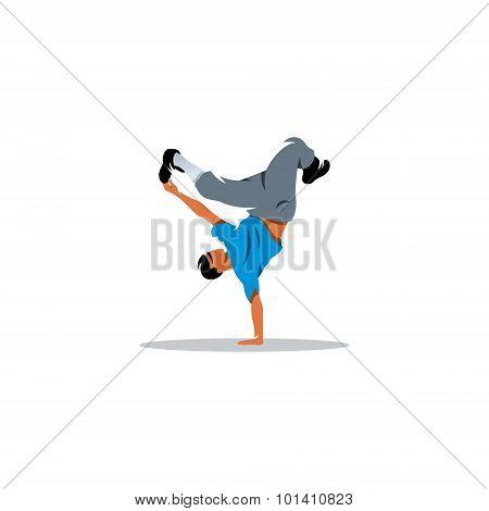 One Hip Hop Acrobatic Break Dancer Breakdancing Young Man Handstand Sign. Vector Illustration.