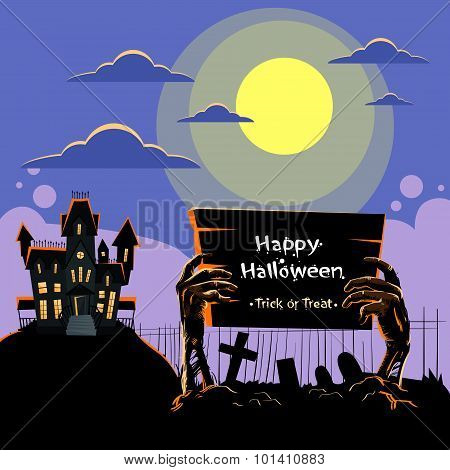Zombie Hand Hold Board Dead Arms From Ground Graveyard Invitation Halloween House Party