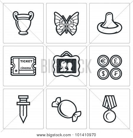 The hobby of collecting icons set. Vector Illustration.  Isolated Flat Icons collection on a white background for design