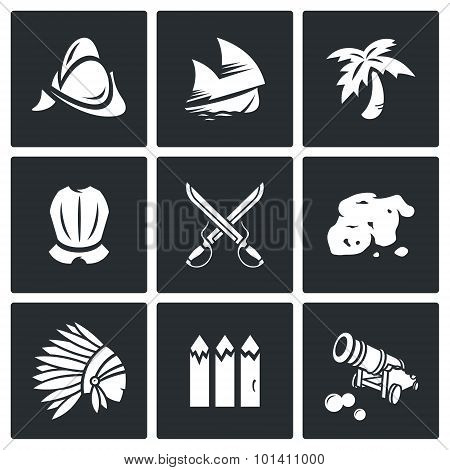 Conquistadors, Indians And Gold Icons Set. Vector Illustration.