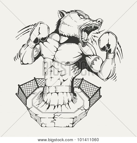 Vector image trunk boxer with an angry wolf head.