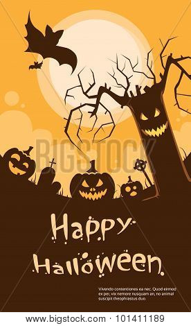 Halloween Pumpkin Scary Tree Smile Evil Face Party Invitation Card