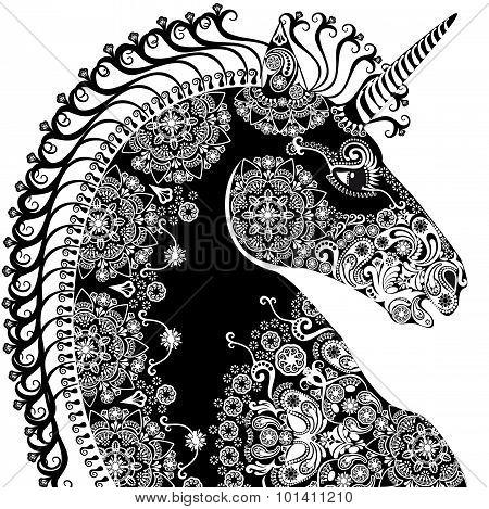 Stylized  Profile Unicorn Head, Bleack And White
