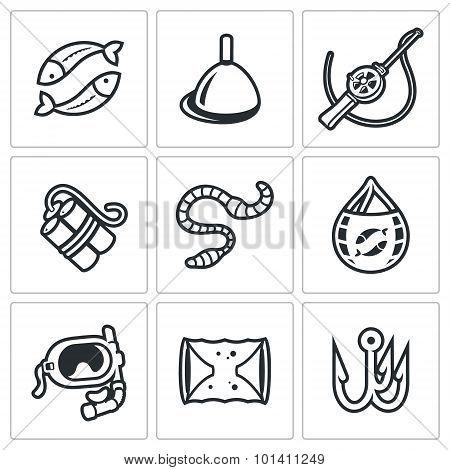Fishing Icons Set. Vector Illustration.