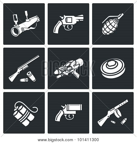 Various Types Of Weapons Icons Set. Vector Illustration.