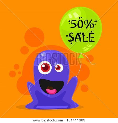 Jelly Monster Sale Promotion Balloon Shopping Discount Banner Alien Character