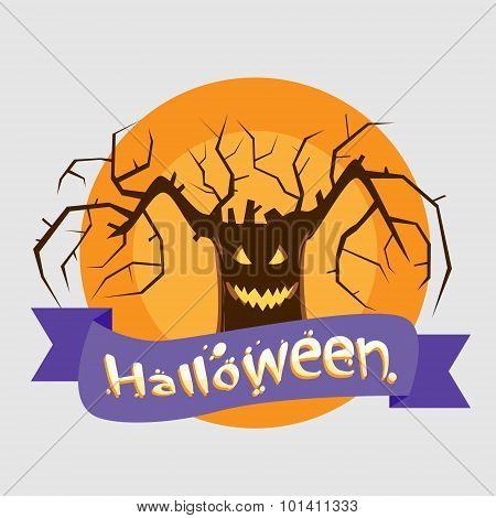 Halloween Tree Badge Banner Scary Smile Face Eyes