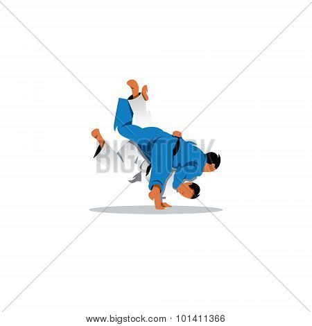 Judo Sign. Two Judoka Fighting Among Themselves. Vector Illustration.