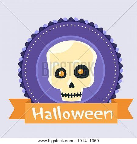 Halloween Skull Human Head Badge Banner Scary Face