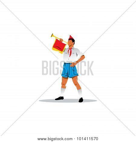 Soviet Pioneer Bugler Sign. Youth Patriotic Movement. Vector Illustration.