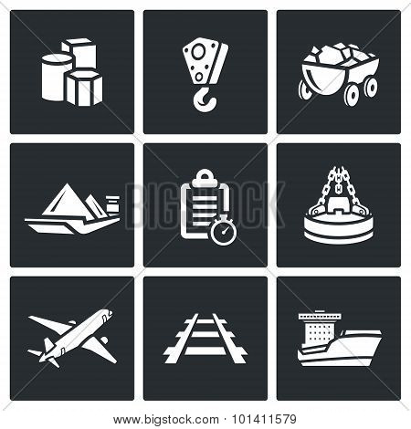 Delivery of goods in different ways icons set. Vector Illustration. Products, Crane, Ore, truck, barge, List, Industry, magnet, aircraft, railroad, ship