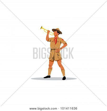Young Boy Scout Bugler Sign. Vector Illustration.