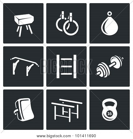 Sports Equipment Icons Set. Vector Illustration.