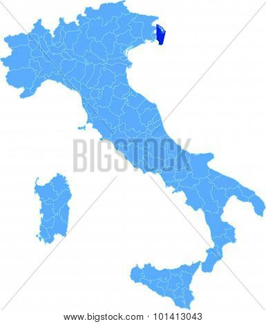 Map Of Italy, Trieste