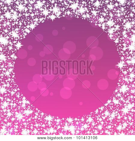 Purple background with round snowflakes border