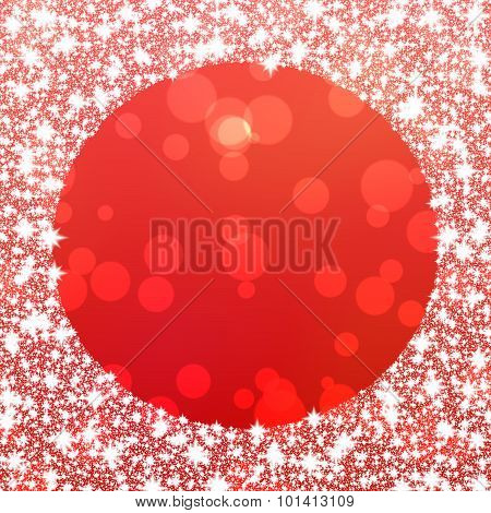 Bokeh red background with snowflakes border