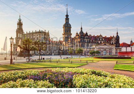 Dresden Square At Sunrise - Hofkirche