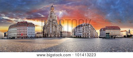 Dresden, Dramatic Sunset Over Frauenkirche - Panorama