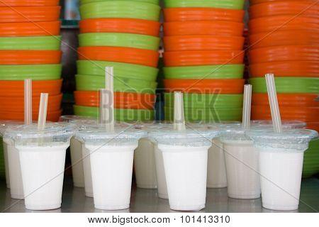 White Cups Of Yoghurt