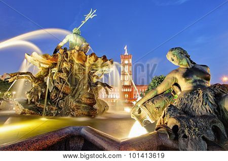 Berlin Neptune Fountain In Alexanderplatz With Rotes Rathaus