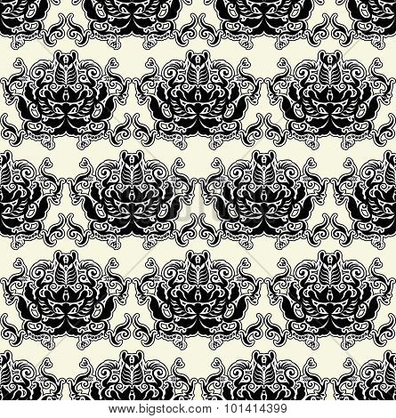 Floral Patten Black On White Background Seamless