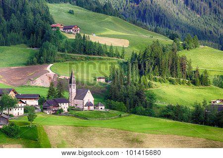 Santa Maddalena Church In Italian Dolomites Alps, Odle, Spring Landscape
