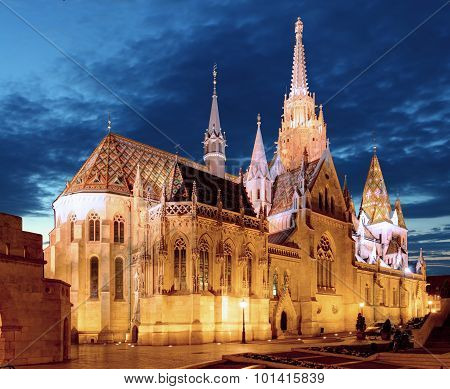 Fishermen's Bastion And Mathias Church At Night In Budapest
