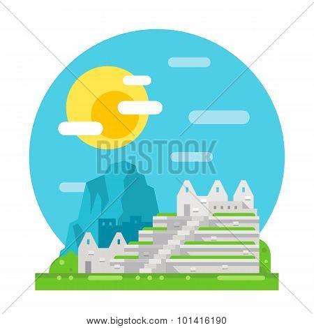 Machu Pichu Flat Design Landmark