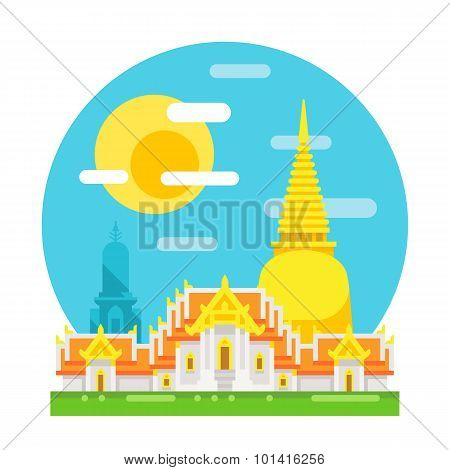 Thailand Temple Flat Design Landmark