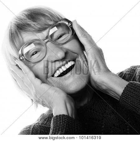 Happy surprised senior woman looking at camera isolated on white background