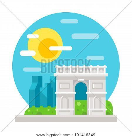 Arc De Triomphe Flat Design