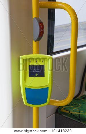 Ticket reader onboard a tram