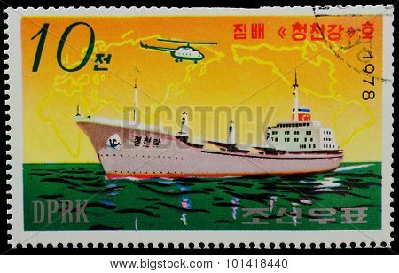 North Korea - Circa 1978: A Stamp Printed In North Korea Shows The  Battleship From The Series