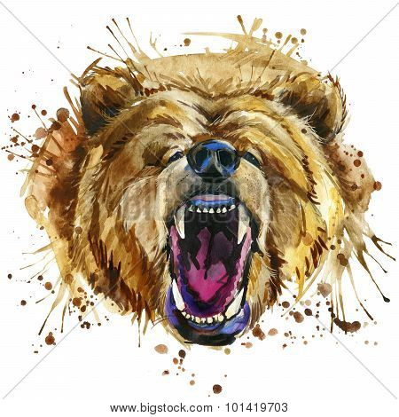 growling grizzly bear T-shirt graphics. bear illustration with splash watercolor textured  backgroun