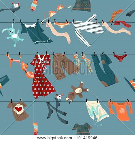 Colorful Laundry Drying On A Washing Lines. Seamless Background Pattern.