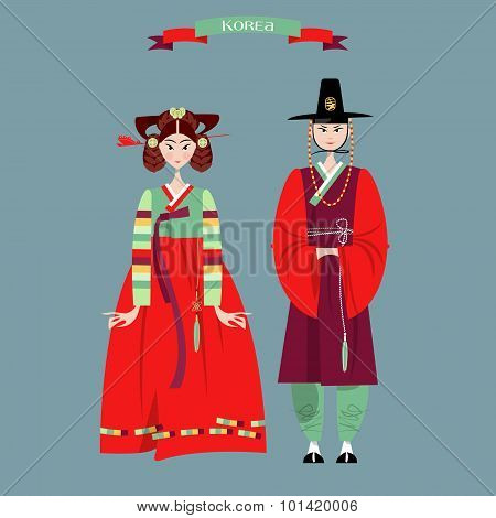 ?ouple In Traditional Korean Dresses. Hanbok.