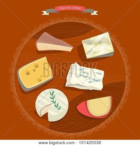 Set Of Cheeses. Cheese Plate.