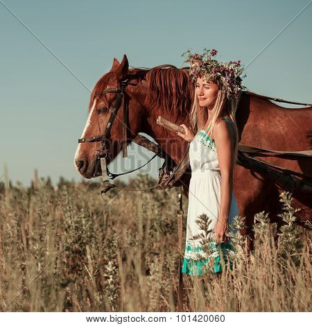 Woman And Horse In Summer Day Outdoors