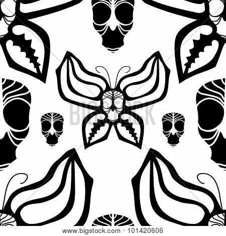 Scull and butterflies.