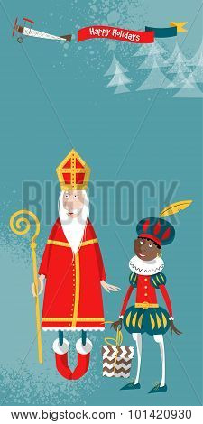 Christmas In Holland. Sinterklaas And Zwarte Piet.