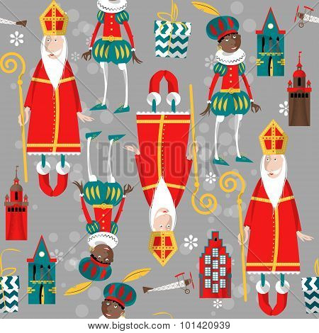 Christmas In Holland. Sinterklaas And Zwarte Piet. Seamless Background Pattern.
