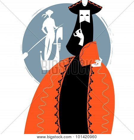 Carnival Of Venice. Woman With A Mask And Gondolier.