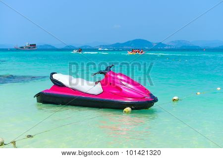 Magenta Jet Ski On The Beach Of Andaman Sea