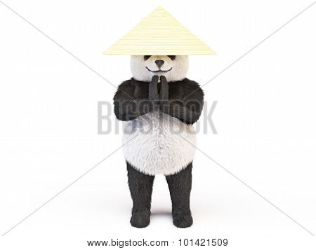 Chineese Cheerful Character Panda Fluffy Teddy